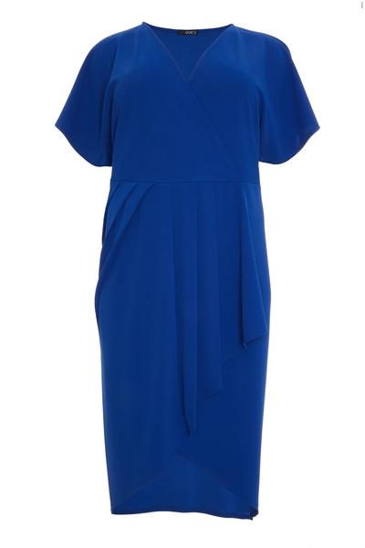 Curve Blue Wrap Midi Dress
